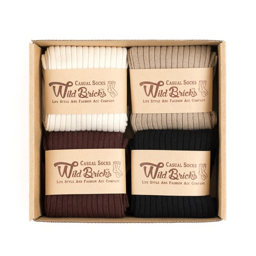 [와일드브릭스] WILD BRICKS - LW COTTON RIB SOCKS SET (ivory/beige/brown/black)