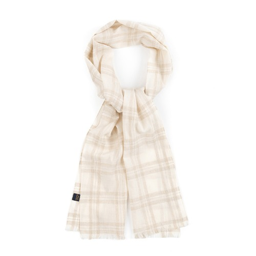[와일드브릭스] WILD BRICKS - CH LINEN-COTTON FRINGE SCARF (ivory)