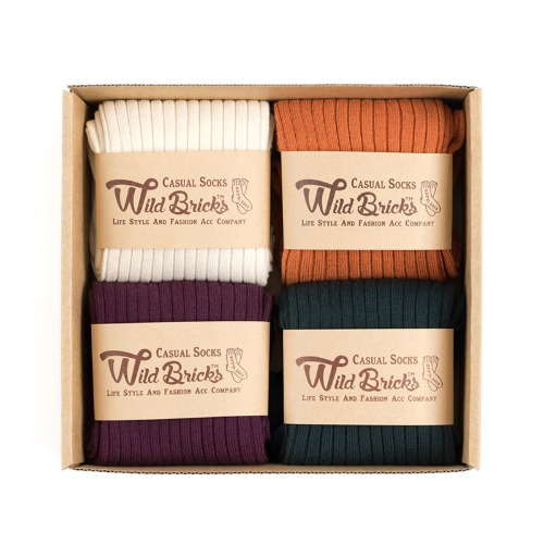 [와일드브릭스] WILD BRICKS - LW COTTON RIB SOCKS SET (ivory/orange/purple/green)