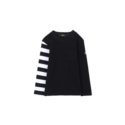 [인다이스 유아용 슬리브] INDICE - Heavy Cotton sleeve BABY TEE (BLACK/Stripe_W_B)